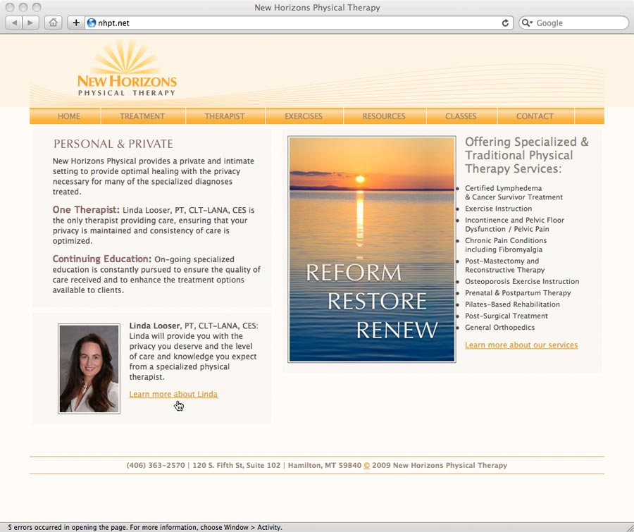 physical therapy website design screenshot