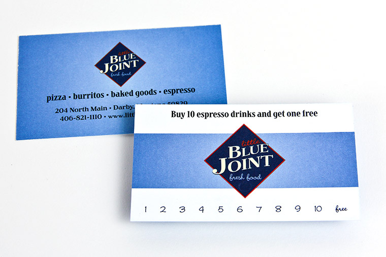 Punch Card designed and printed for Little Blue Joint Restaurant