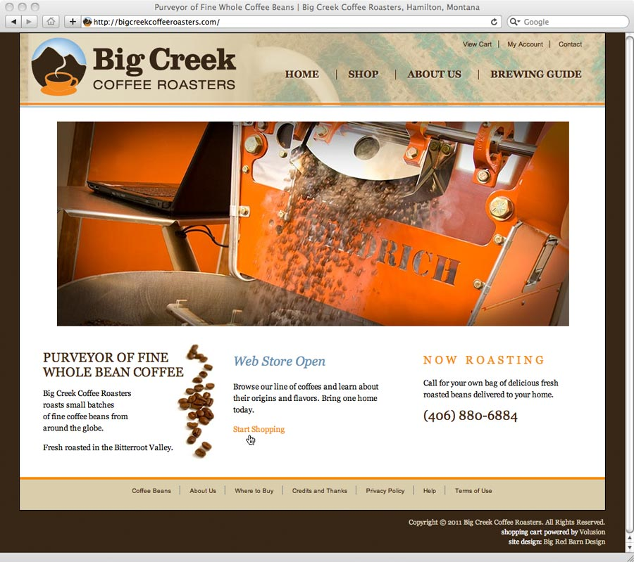 Shopping cart website design for Big Creek Coffee Roasters