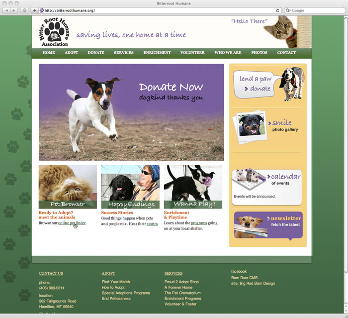 website design for Bitterroot Humane Association