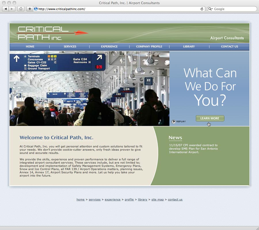 Critical Path Inc. web site design by Big Red Barn Design