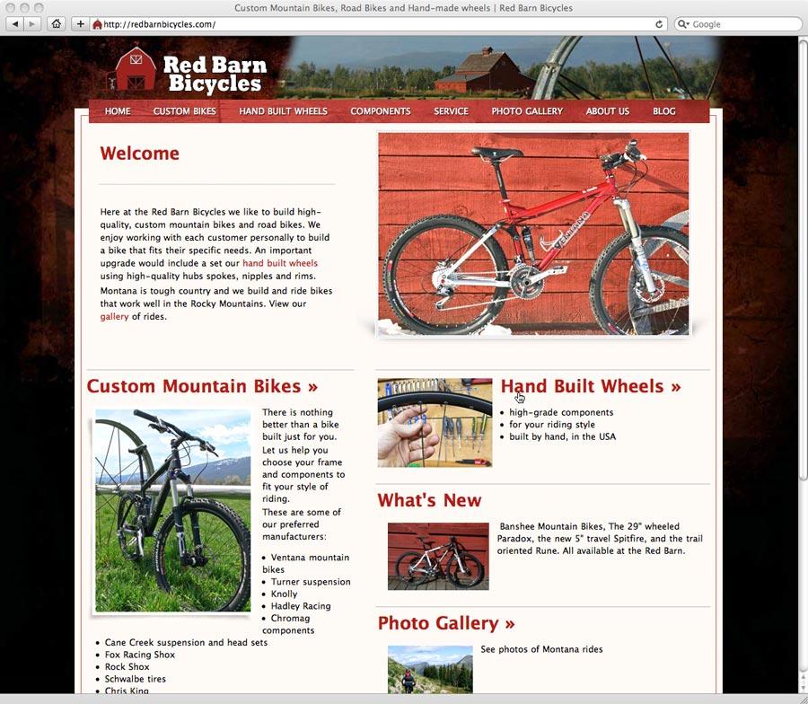 screenshot of Red Barn Bicycles web design