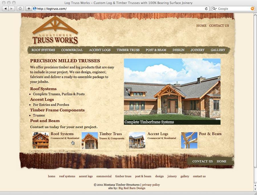 log truss web site design screenshot