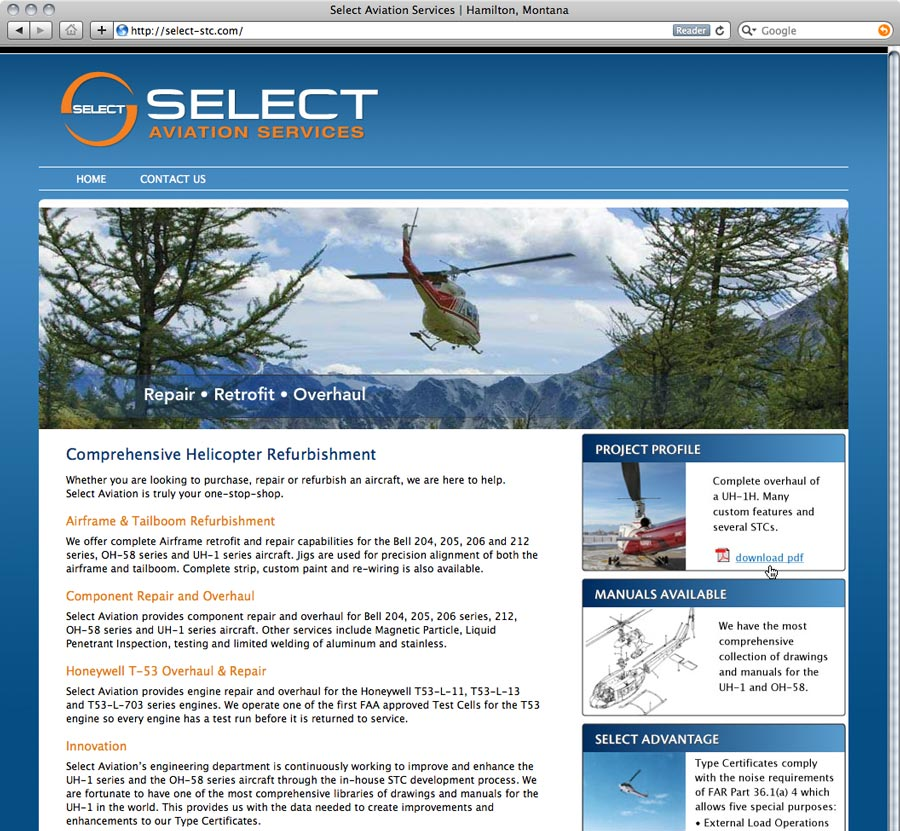 website design screenshot of selectstc.com