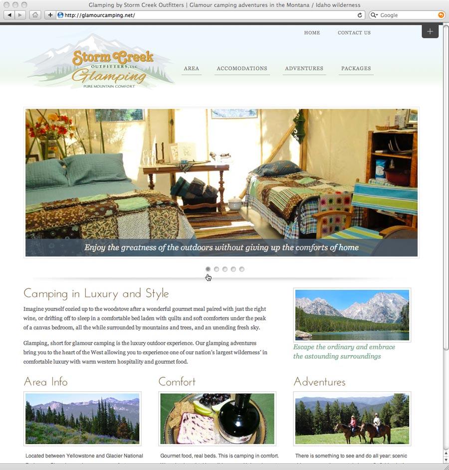 website design for glamping website
