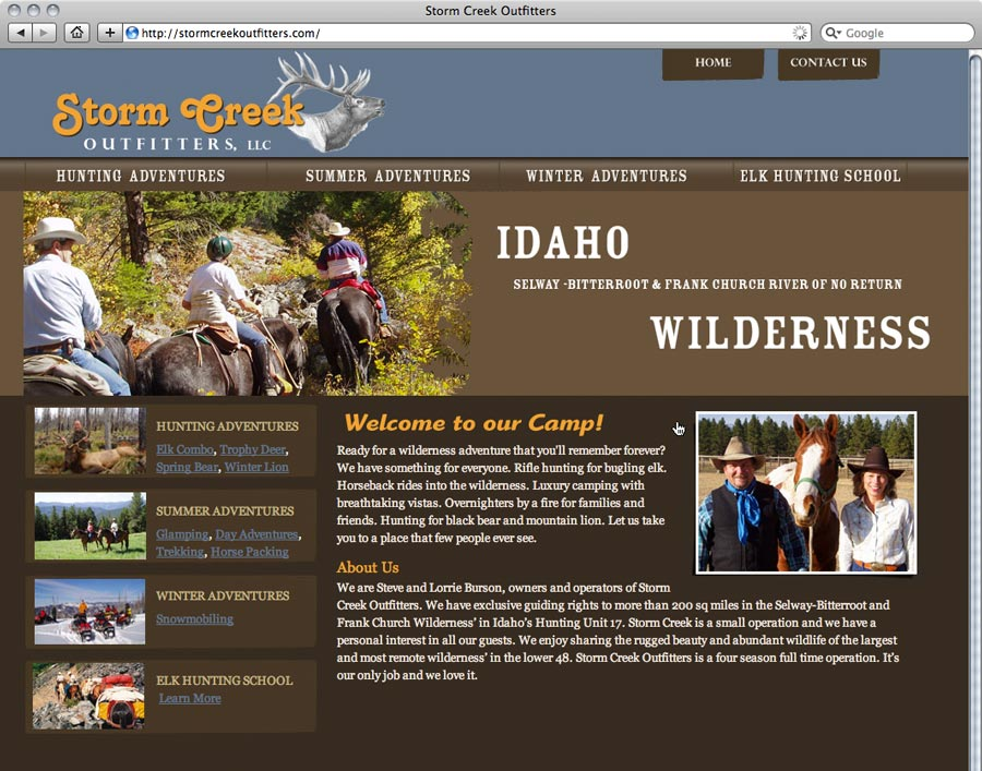 website design and development for Storm Creek Outfitters