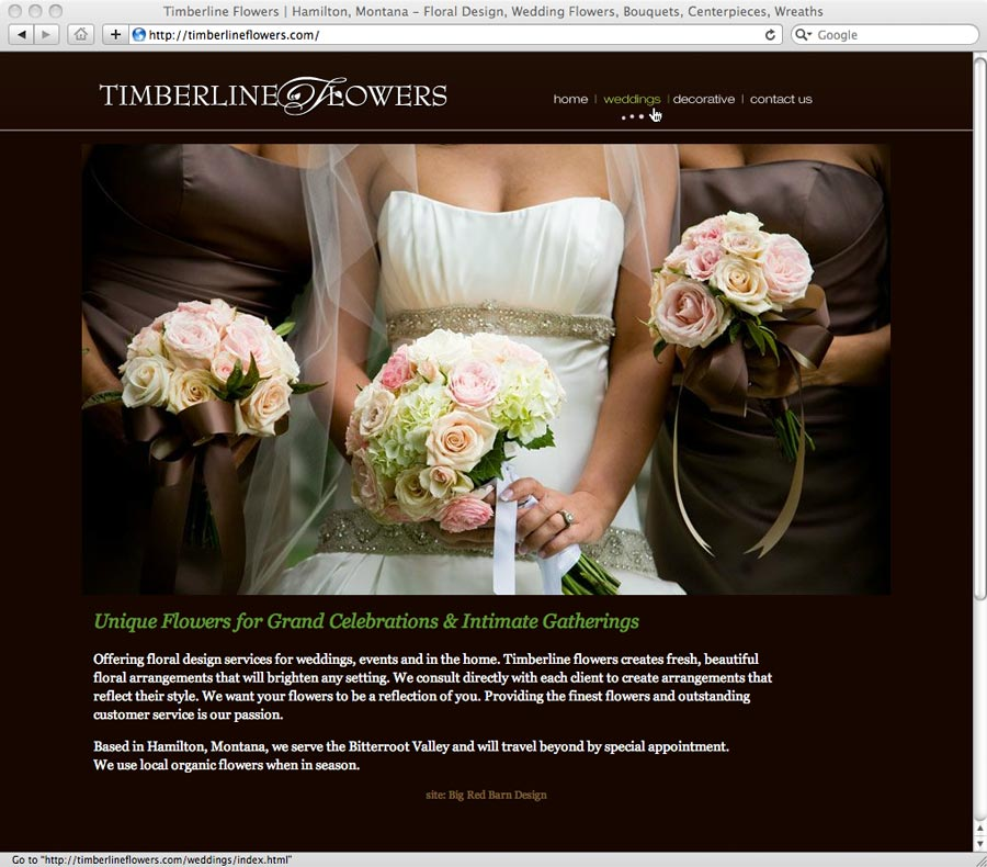 website design and development for Timberline Flowers, Hamilton, Montana