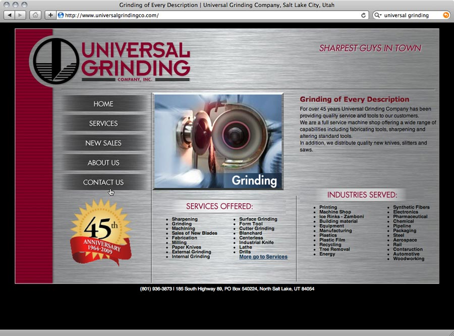 screenshot of website design for universal grinding
