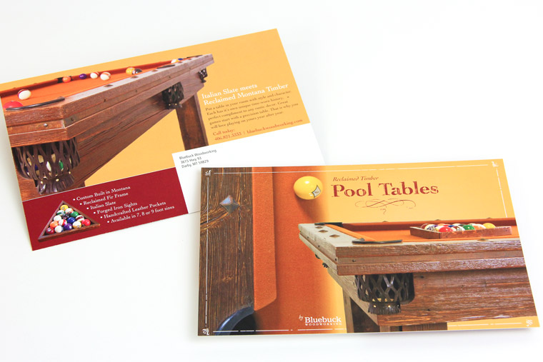 Postcard design and photography for Bluebuck Woodworking