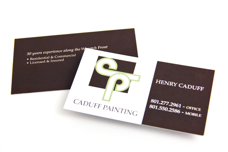 Website logo print video our portfolio of client work big red caduff painting business cardprint business card design for caduff painting of salt lake city utah reheart Choice Image
