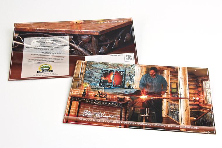 Postcard design for Glenn GIlmore Metalsmith