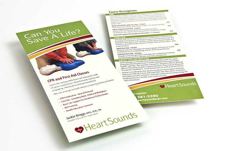 Rack Card design for HeartSounds CPR Education
