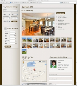 utah home now's website features extensive real estate listing design
