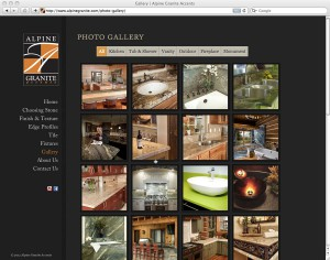 screenshot of sortable website gallery created for alpinegranite.com