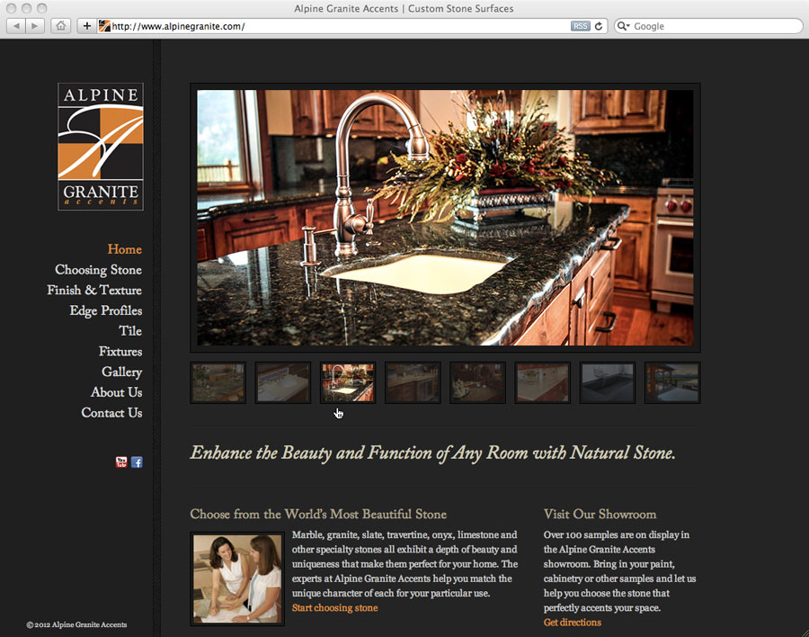 screen shot of web design for alpine granite accents