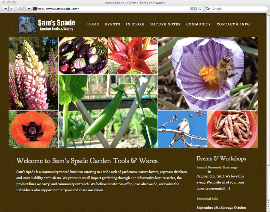 screenshot of website design for samsspade.com