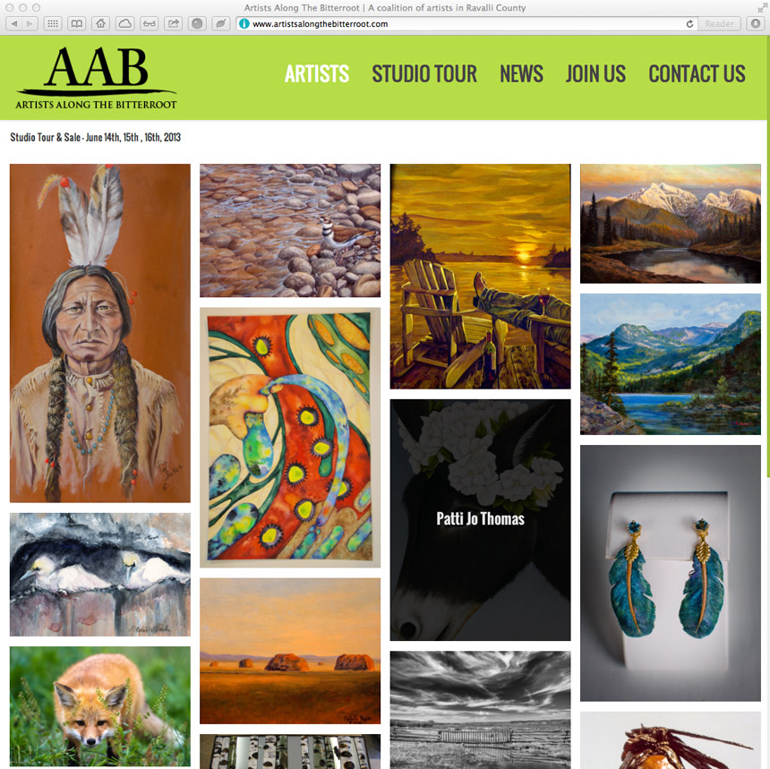 image of website design for artists along the bitterroot