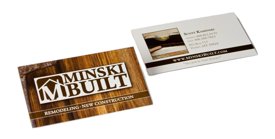 business card and logo design for darby, montana contractor - Minski Built
