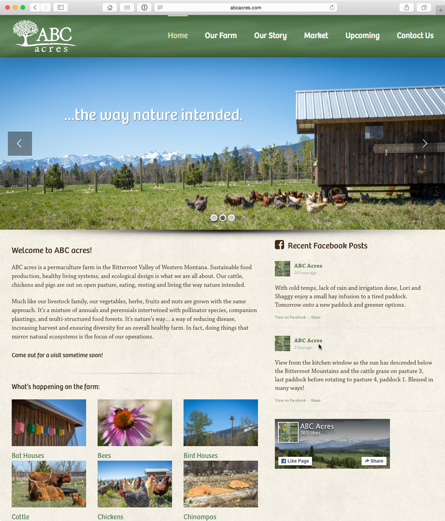 website design for montana permaculture farm, abc acres