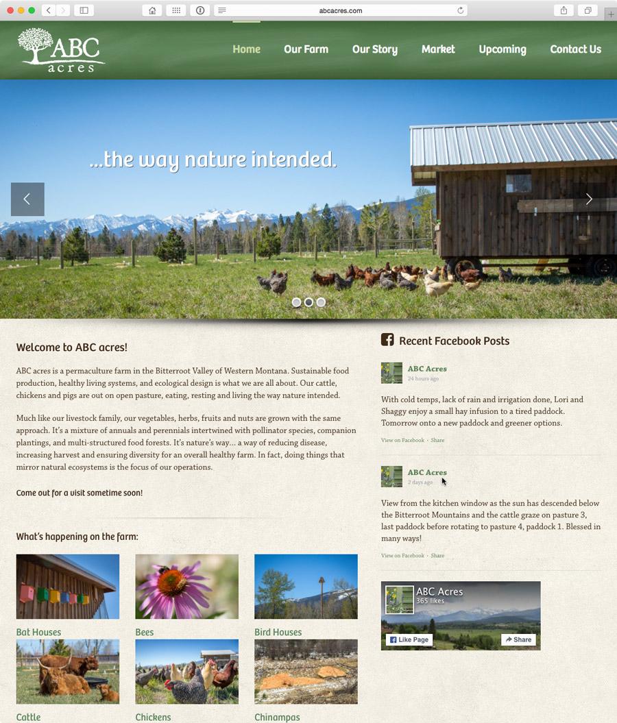 website design for montana permaculture farm, abc acres
