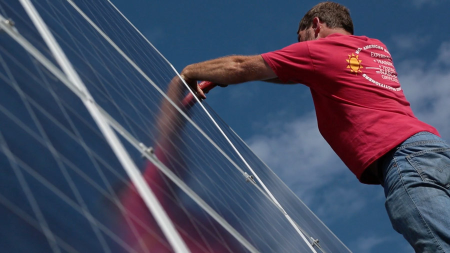 solar panel installer image from video