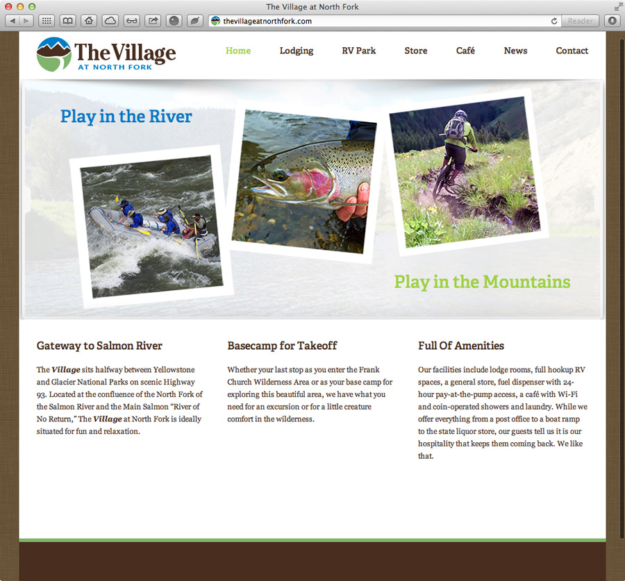 website design for the village at north fork