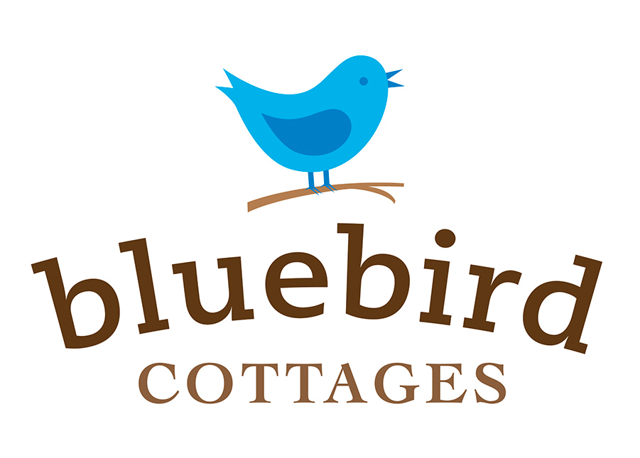 logo design for bluebird cottages of bicknell, utah
