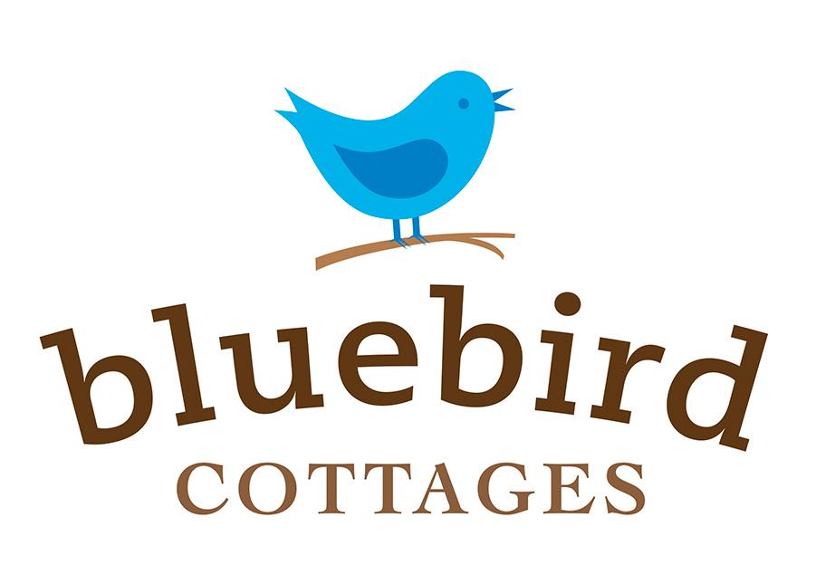 logo design for bluebird cottages of bicknell, utah